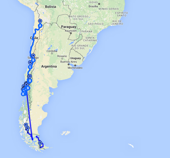 Route Chile Argentinien